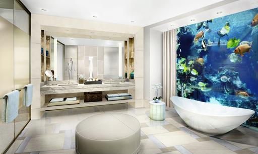 水下套房效果图 通过私人电梯可以抵达高级的皇家套房和金爵套房,在