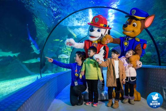 """海洋世界携手动画ip《汪汪队立大功》,24日举行了一场充满童趣的""""欢迎"""