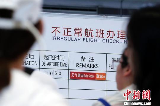 """受台风""""安比""""影响 上海两大机场部分航班取消"""